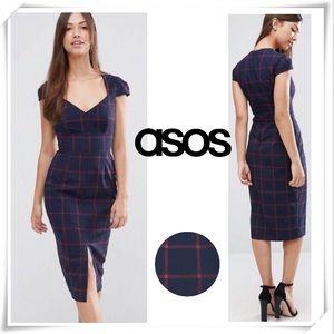 ASOS Window Plaid Pencil Dress Navy